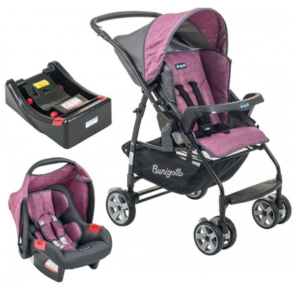 Carrinho Passeio de Bebê com Bebê Conforto Rio K Geo Rosa + Base - Burigotto