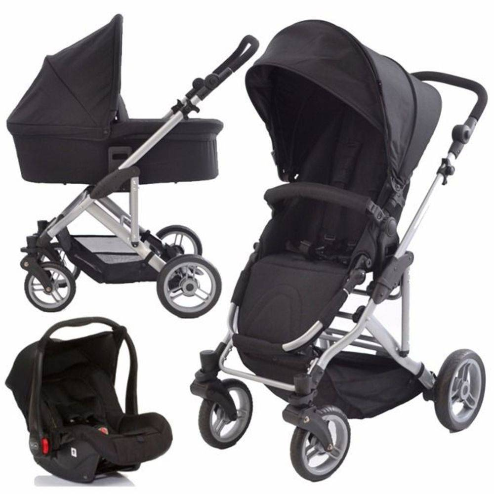 Travel System com Bebê Conforto e Moisés COMO4 Wover Black (Preto) - ABC Design