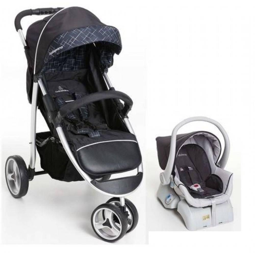 Carro de Passeio 3 Rodas + Bebê Conforto Apollo Preto + Base  - Galzerano