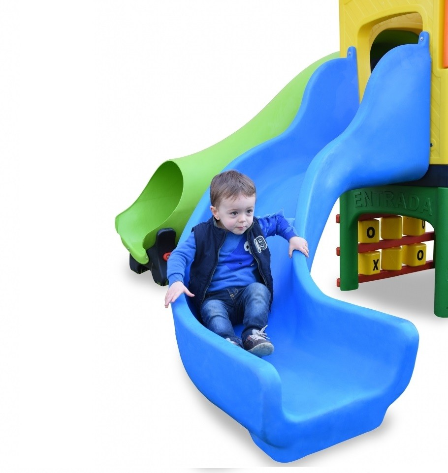 Playground Creative Play com Escorregadores, Túnel e Jogo da Velha - Xalingo