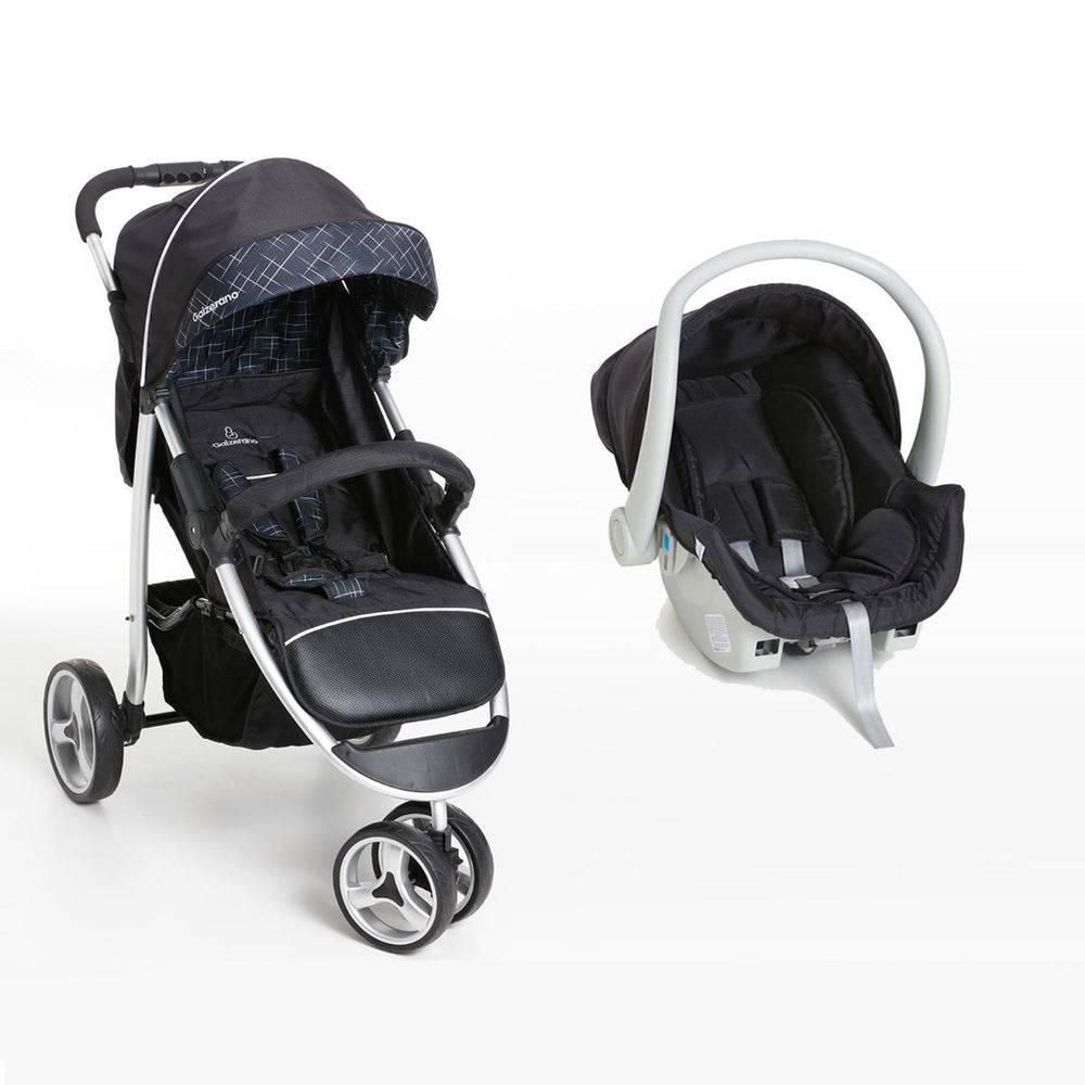 Travel System 3 Rodas + Bebê Conforto Apollo Preto - Galzerano