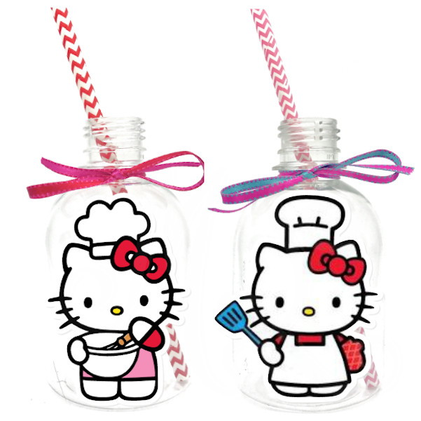Garrafa Suco + Canudo - Hello Kitty