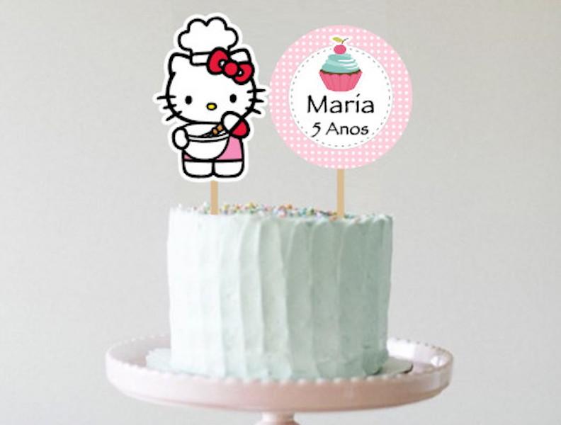 Topo de bolo - Hello Kitty