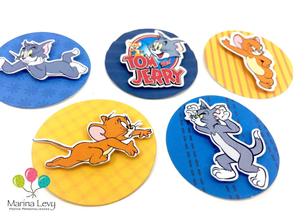 Aplique 3D - Tom e Jerry  - Marina Levy Festas