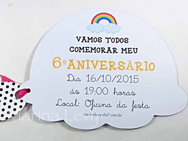 Convite Corpinho - Arco Iris  - Marina Levy Festas