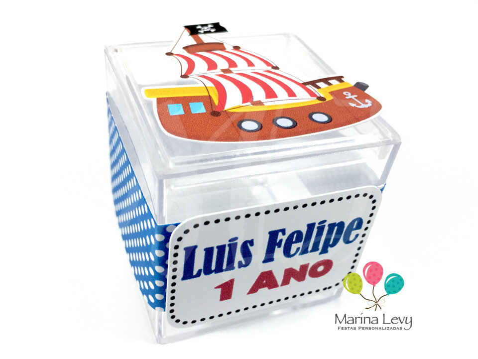 Caixinha Acrílico - Pirata  - Marina Levy Festas
