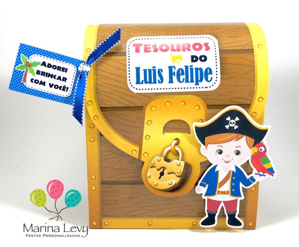 Caixinha Baú Pirata  - Marina Levy Festas
