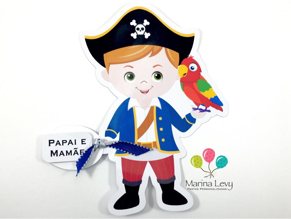Convite Corpinho - Pirata  - Marina Levy Festas
