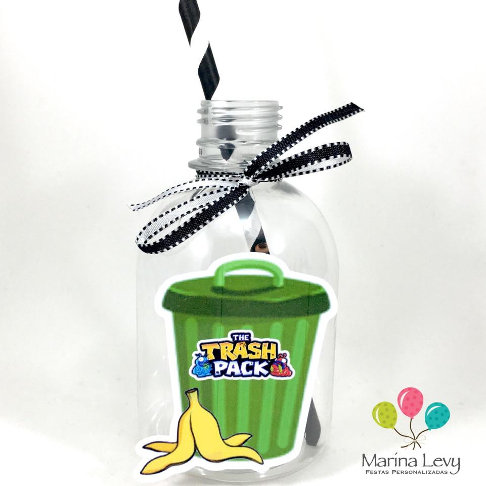 Garrafa Suco + Canudo - Trash Pack  - Marina Levy Festas
