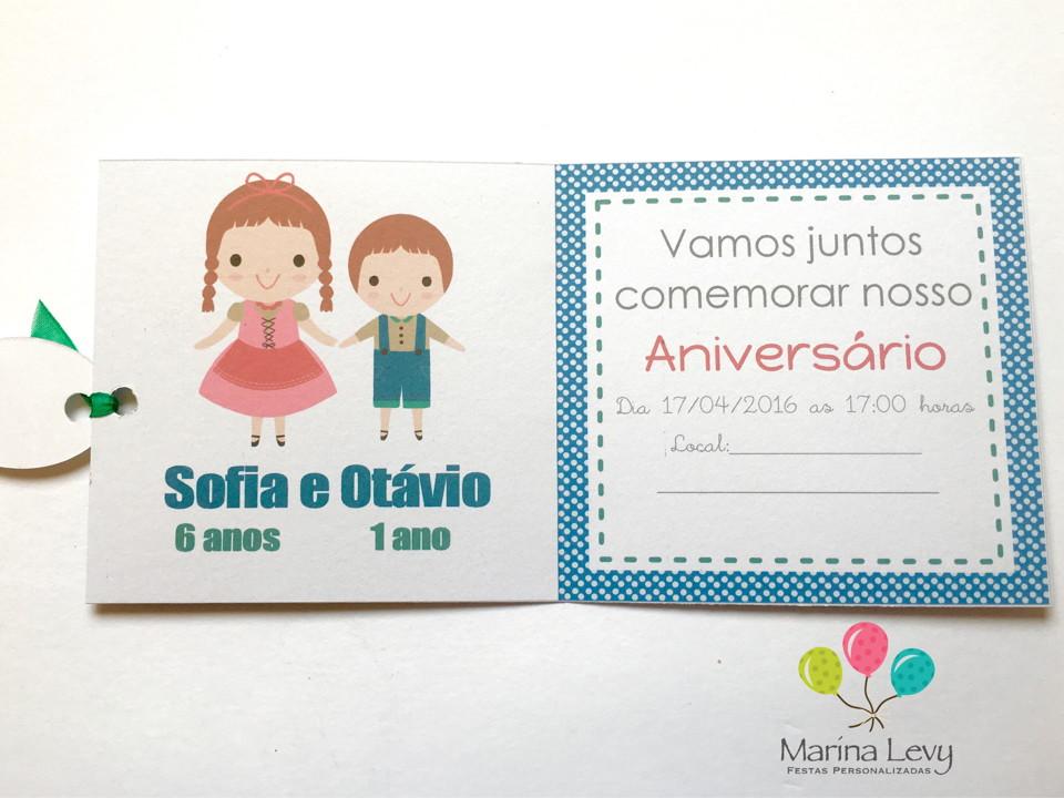 Convite Quadrado - João e Maria  - Marina Levy Festas