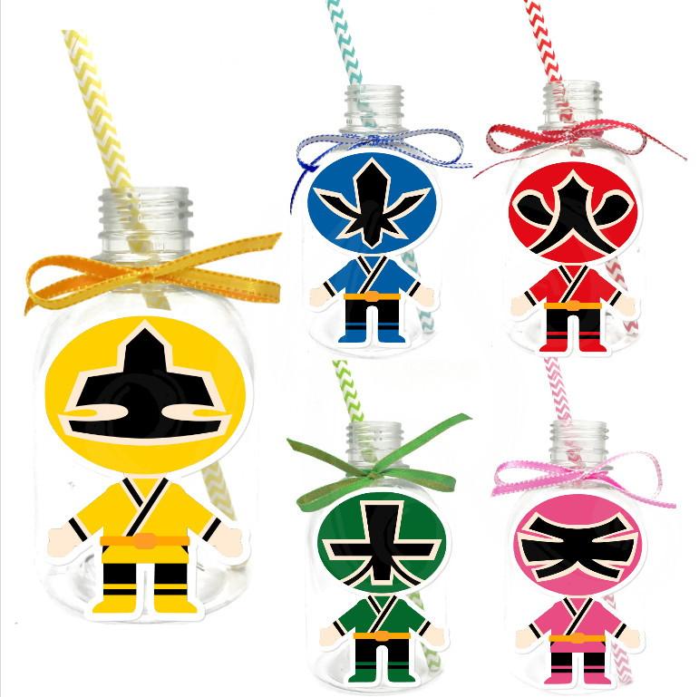 Garrafa Suco + Canudo - Power Rangers