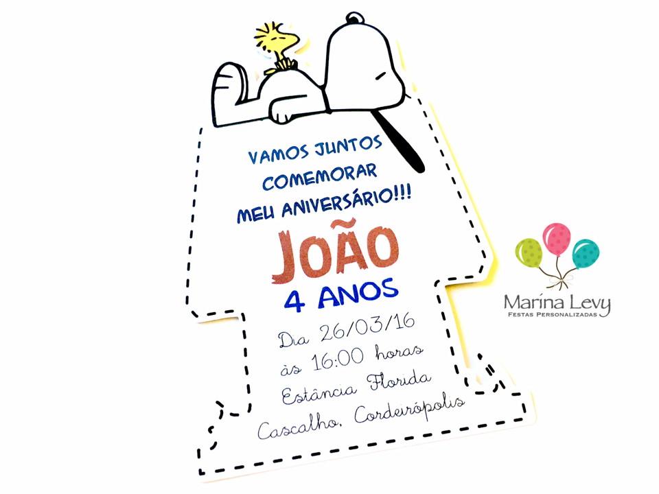Convite Corpinho - Snoopy  - Marina Levy Festas