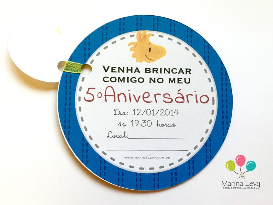 Convite Redondo - Snoopy  - Marina Levy Festas