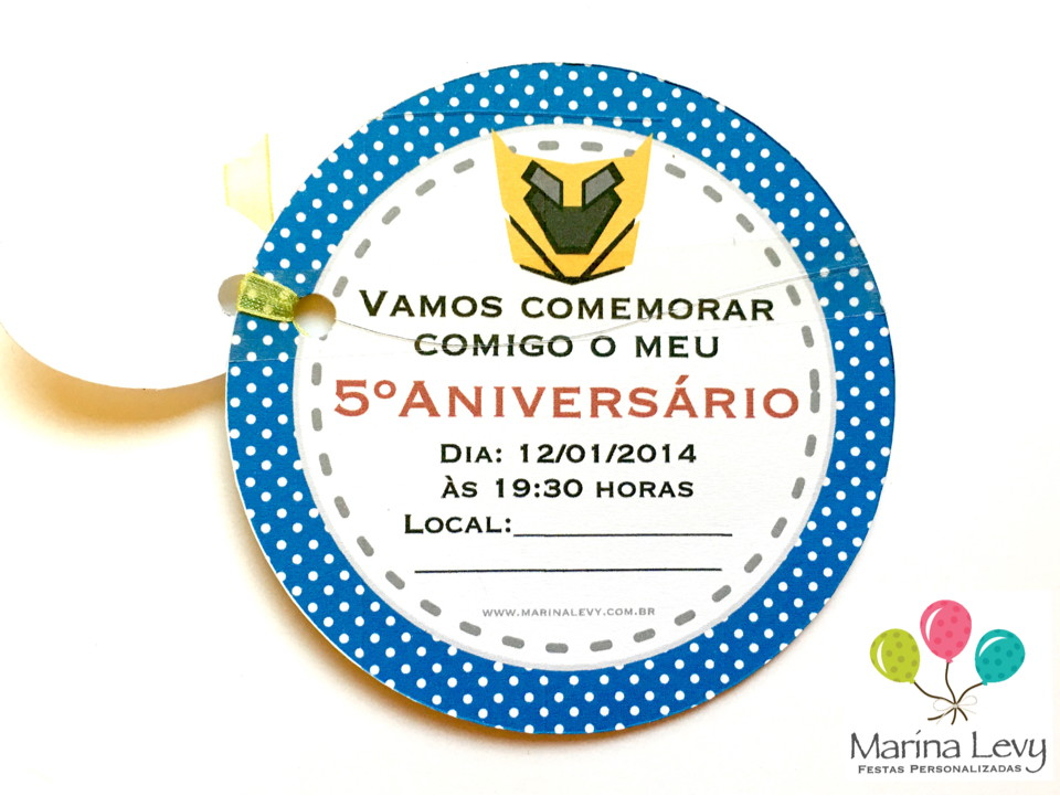 Convite Redondo - Transformers  - Marina Levy Festas