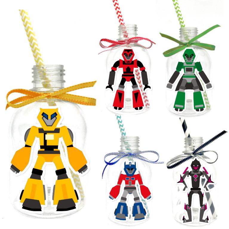 Garrafa Suco + Canudo - Transformers