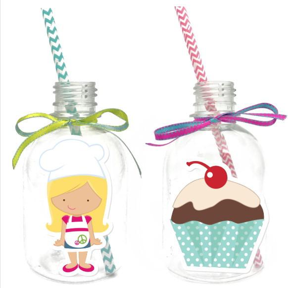 Garrafa Suco + Canudo - Cupcake