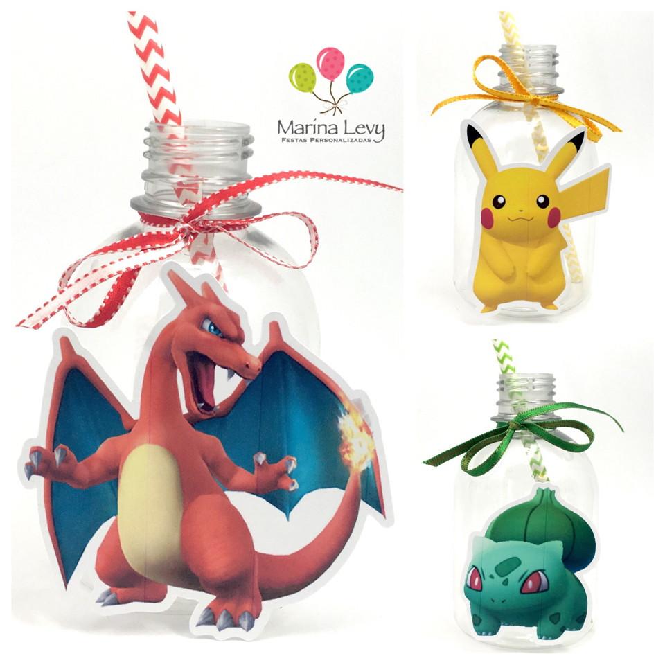Garrafa Suco + Canudo - Pokemon Go  - Marina Levy Festas