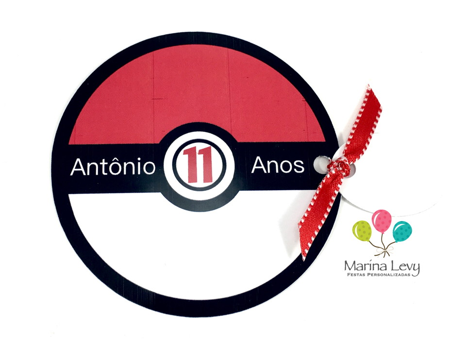 Convite Redondo - Pokemon  - Marina Levy Festas