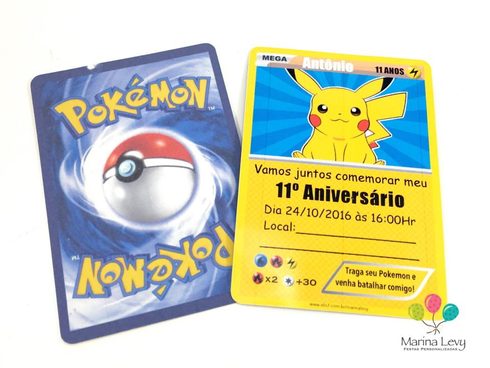 Convite Carta Pokemon