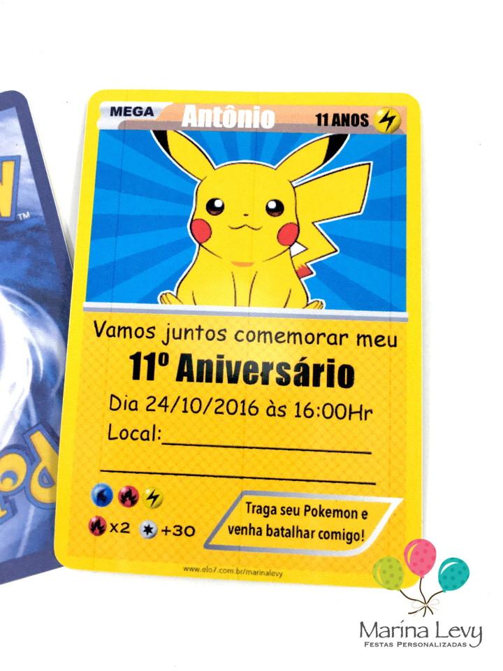 Convite Carta Pokemon  - Marina Levy Festas