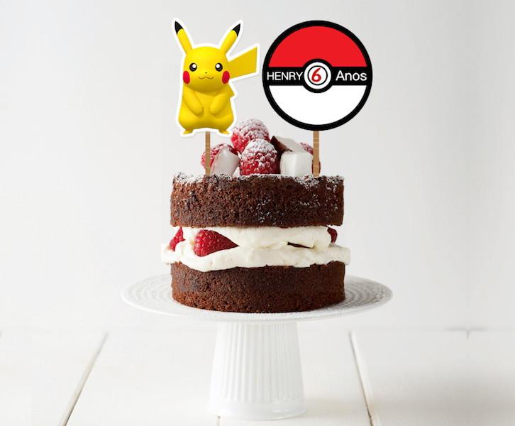 Topo de bolo - Pokemon  - Marina Levy Festas
