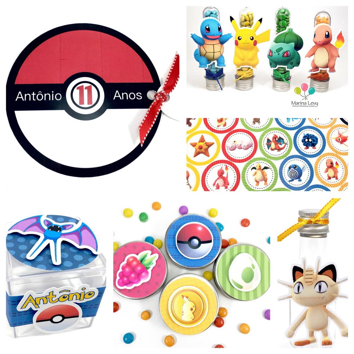 Kit Festa 150 Itens 3D - Pokemon
