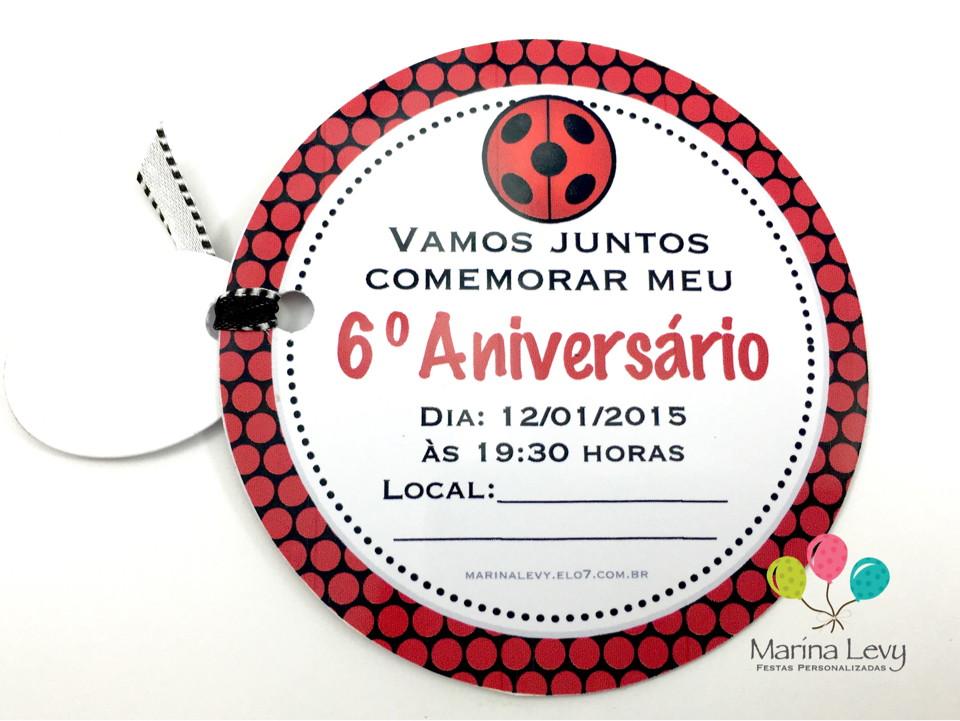 Convite Redondo - LadyBug  - Marina Levy Festas