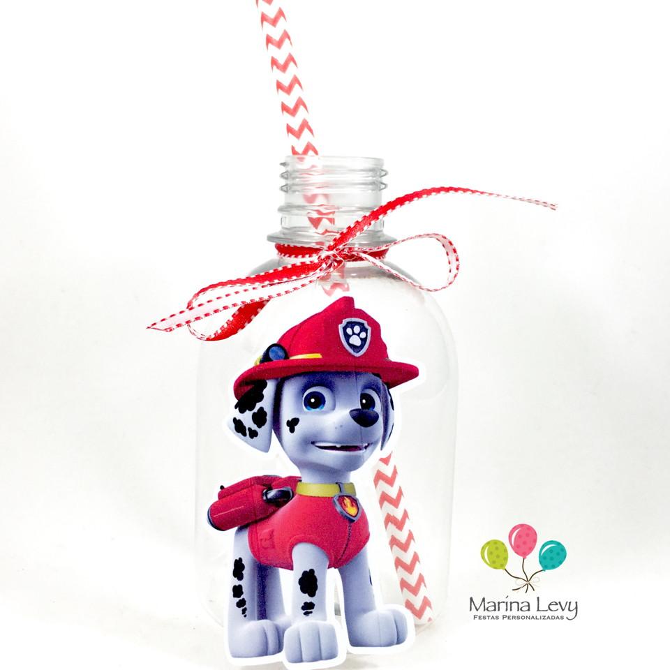 Garrafa Suco + Canudo - Patrulha Canina  - Marina Levy Festas