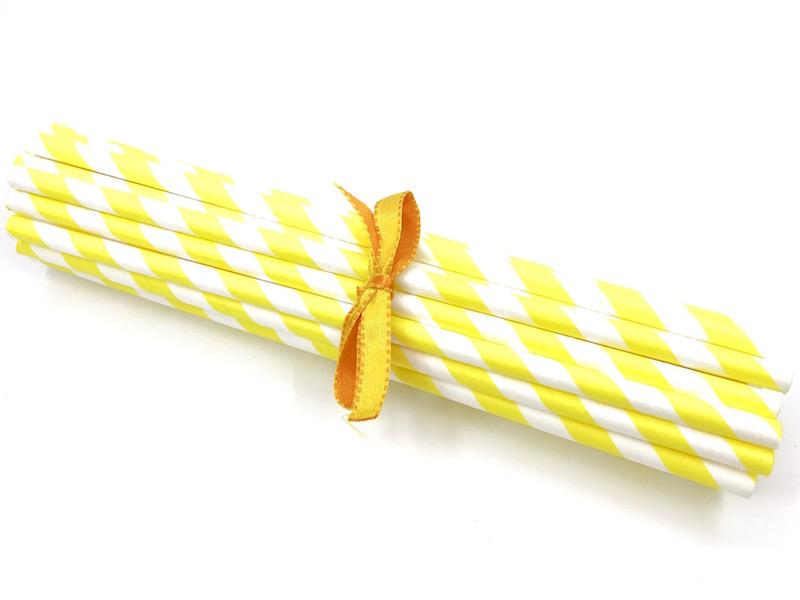 Canudo de Papel - Amarelo Listra  - Marina Levy Festas
