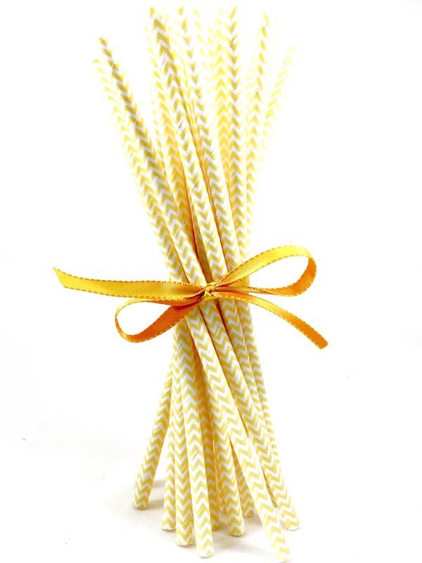 Canudo de Papel - Amarelo Missoni  - Marina Levy Festas