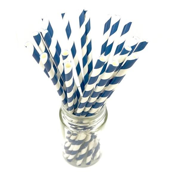 Canudo de Papel - Azul Marinho Listras
