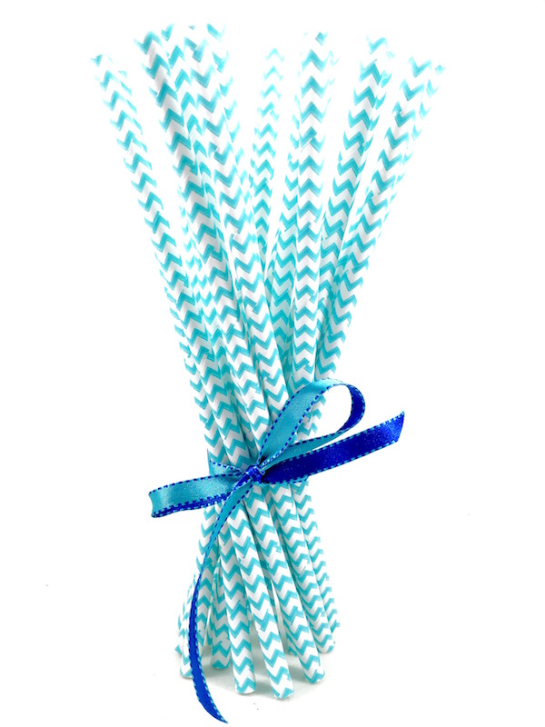 Canudo de Papel - Azul Missoni  - Marina Levy Festas