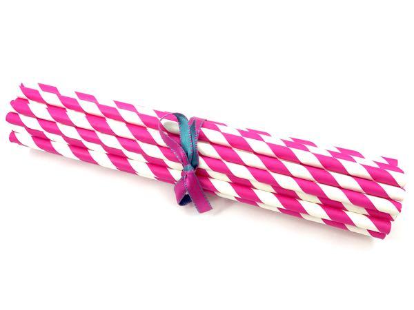 Canudo de Papel - Rosa Pink Listra