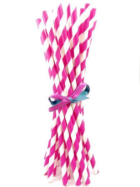 Canudo de Papel - Rosa Pink Listra  - Marina Levy Festas