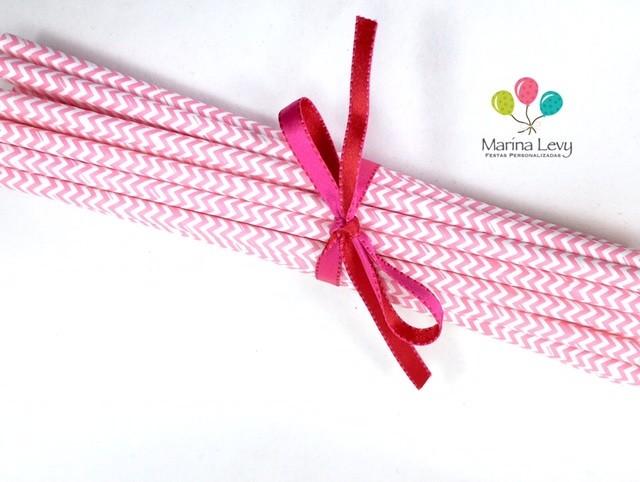 Canudo de Papel - Rosa pink Missoni