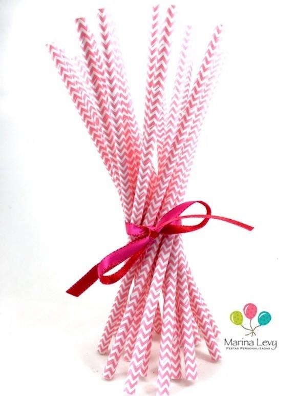 Canudo de Papel - Rosa pink Missoni  - Marina Levy Festas