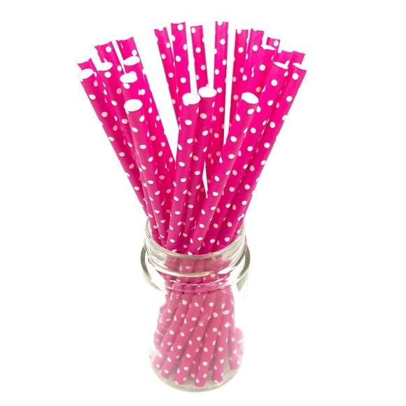 Canudo de Papel - Rosa Pink Poá  - Marina Levy Festas