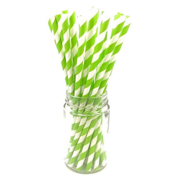 Canudo de Papel - Verde Listras