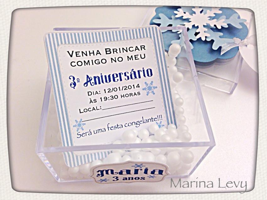 Convite Acrilico com Neve - Frozen