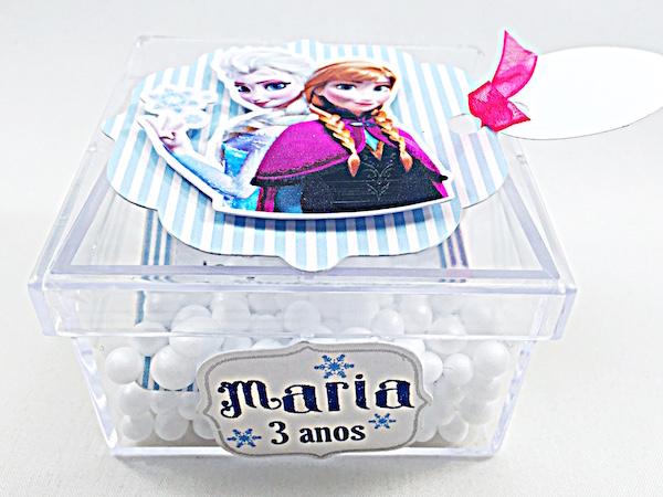 Convite Acrílico com Neve - Frozen