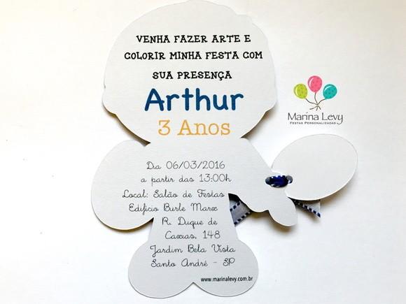 Convite Corpinho - Artes Menino  - Marina Levy Festas
