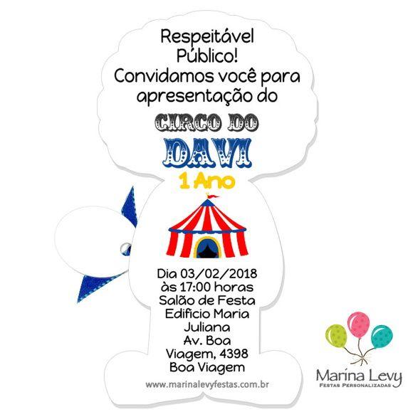 Convite Corpinho - Circo  - Marina Levy Festas