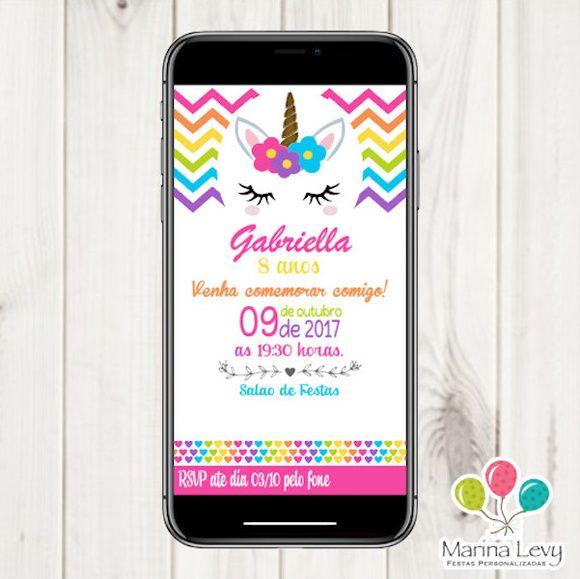 Convite Digital - Unicórnio Novo