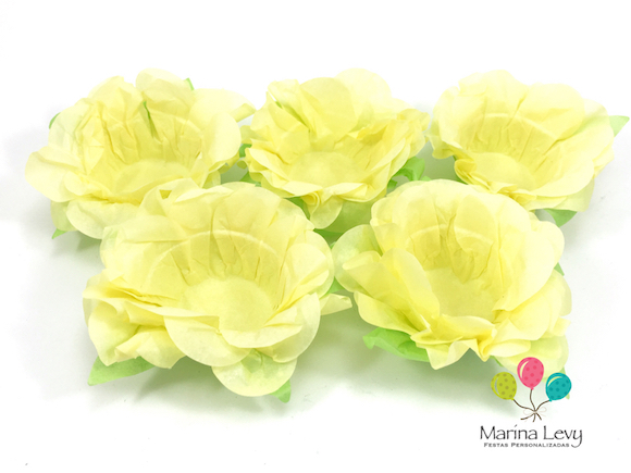 Forminha Flor 40un. - Amarelo Canario / Verde  - Marina Levy Festas