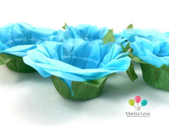 Forminha Flor 40un. - Azul Claro / Verde  - Marina Levy Festas