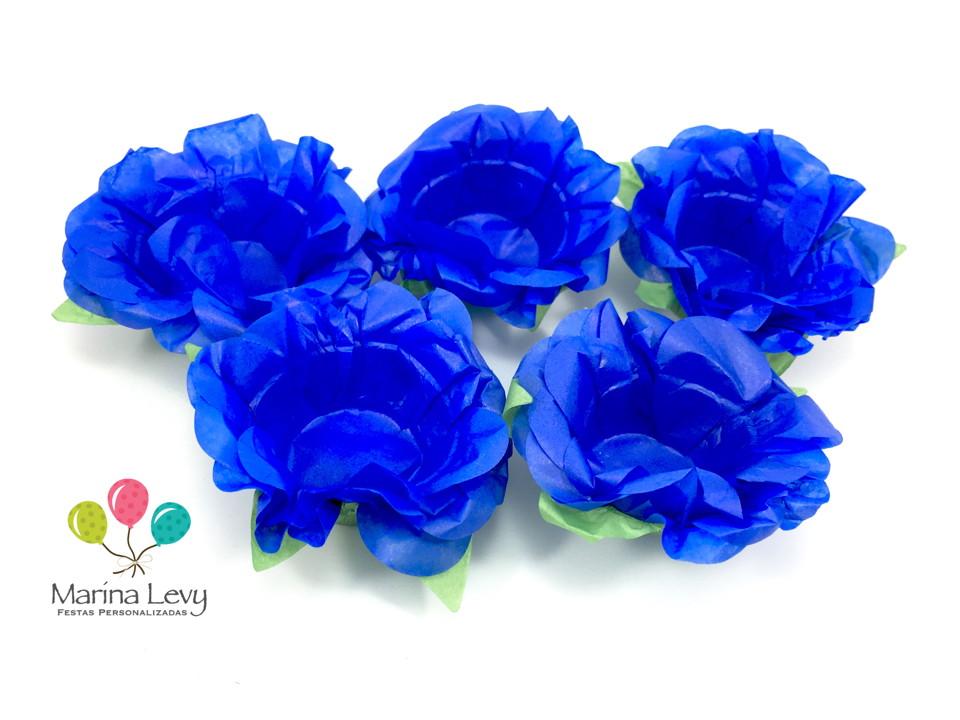 Forminha Flor 40un. - Azul Royal / Verde  - Marina Levy Festas
