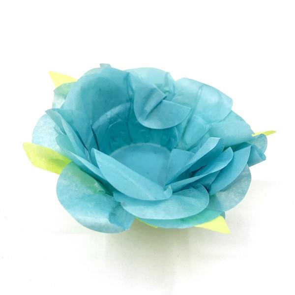 Forminha Flor 40un. - Azul Turquesa / Verde  - Marina Levy Festas