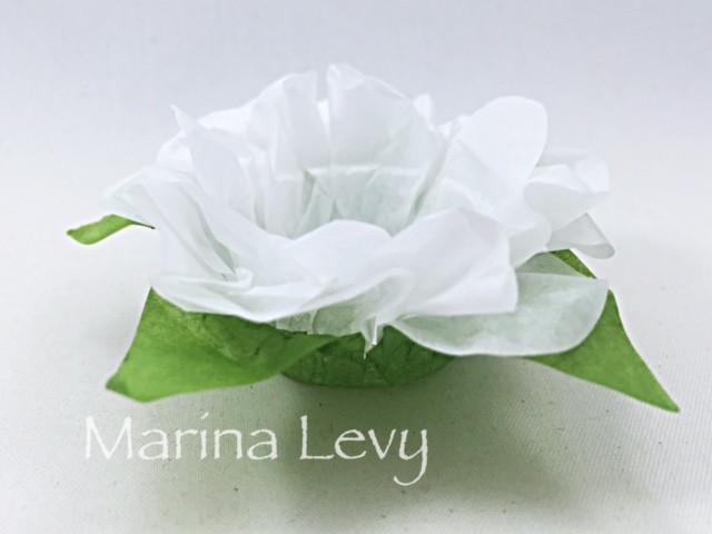 Forminha Flor 40un. - Branca / Verde  - Marina Levy Festas