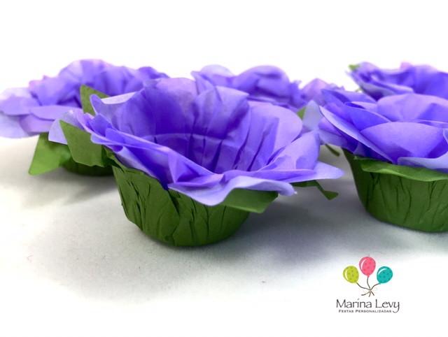 Forminha Flor 40un. - Lilas / Verde  - Marina Levy Festas