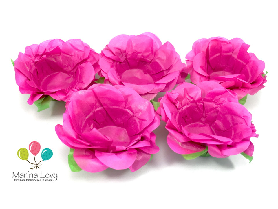 Forminha Flor 40un. - Rosa Pink / Verde  - Marina Levy Festas